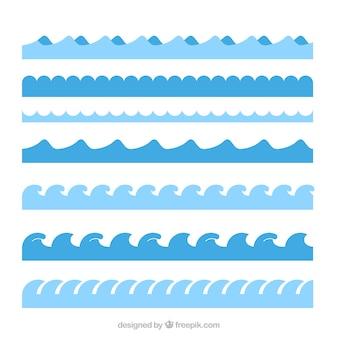 Pak van zeven verschillende golven in plat design