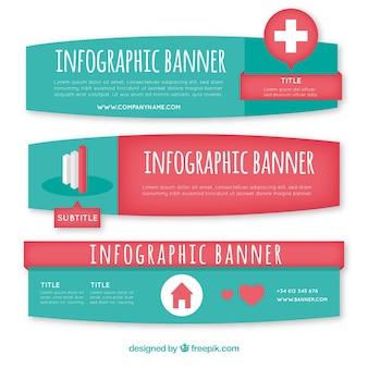 Pakje infografische banners