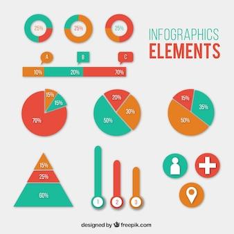 Pakje infografische elementen in drie kleuren