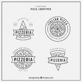 Pakje logo's van pizza's in lineaire stijl