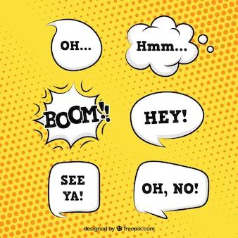 Pakje met handgetekende spraakbellen in comic-stijl