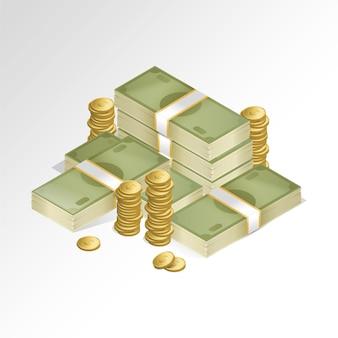 Pakje van biljetten en munten op een witte achtergrond