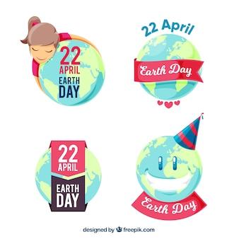 Pakje van vier aarde dag stickers
