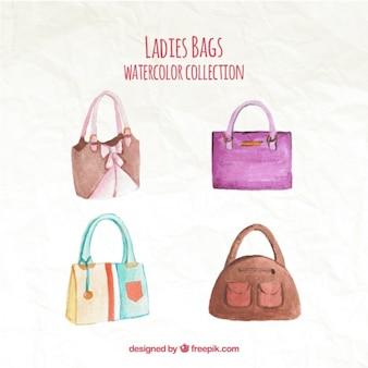 Pakje van vier aquarel handtassen