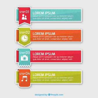 Pakje van vier infographic banners met gestreepte achtergrond