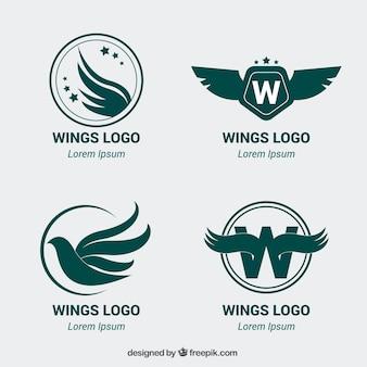 Pakje van vier logo's met vleugels