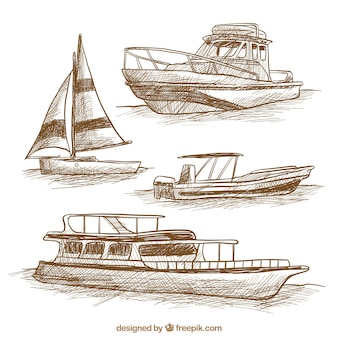 Pakje van vier met de hand getekende boten
