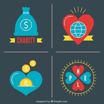 Pakje van vier vlakke donatie badges