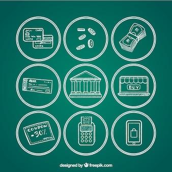 Pakket van betaalmethoden op schoolbord