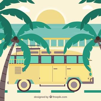 Palm en gele bus op een zonsondergang op de achtergrond