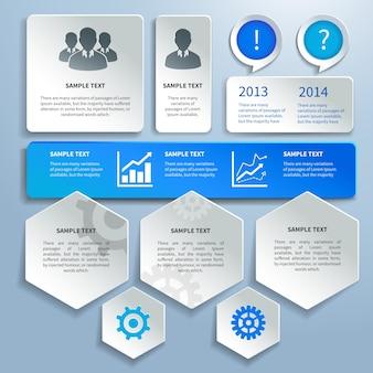Paper business infographics design elementen