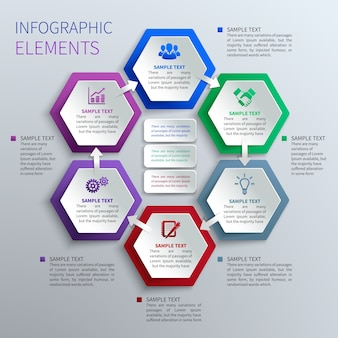 Papier hexagons infographics
