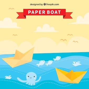 Papierboot achtergrond