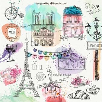 Paris hand getekende doodles