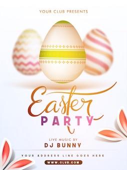 Pasen partij poster met eieren en decoratieve konijnenoren