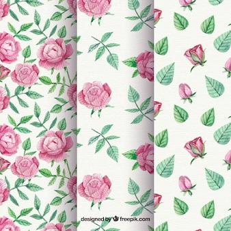 Patronen set rozen en vintage aquarelbladeren