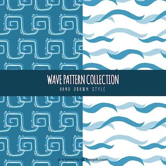 Patronen van abstracte golven in hand getekende stijl