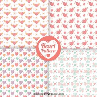 Patronen van de hand getekende mooie harten