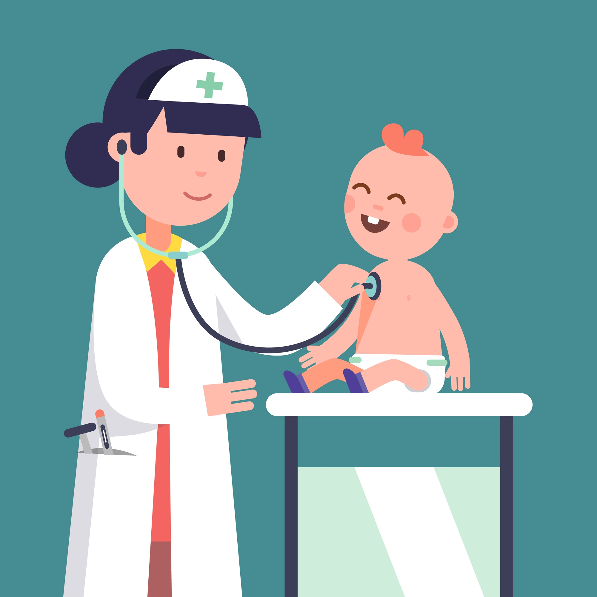 Pediatrician doctor woman examining baby boy