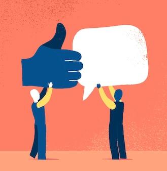 Personen die als en opmerkingen icoon houden