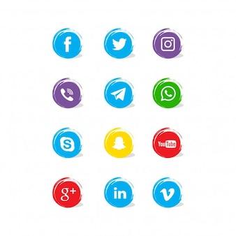 Pictogrammen met abstracte vormen voor sociale netwerken