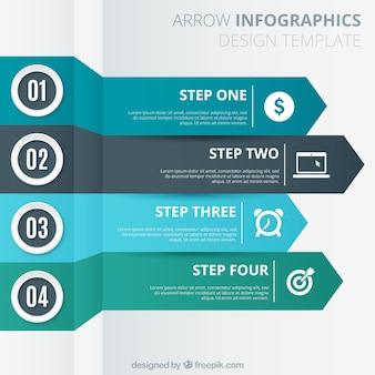 Pijlen sjabloon voor infografie