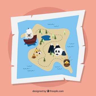 Piraat schatkaart achtergrond