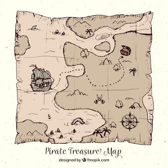 Piraat schatkaart in handgetekende stijl