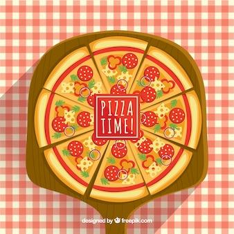 Pizza achtergrond met geruite tafelkleed