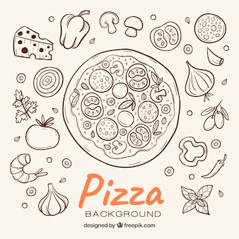Pizza schets achtergrond en ingrediënten