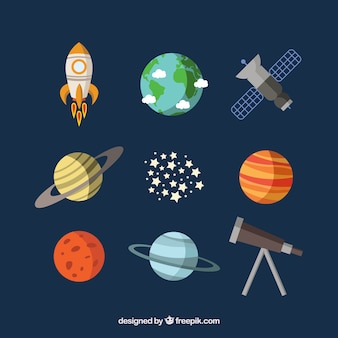 Planeten, een satelliet en een telescoop