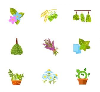 Planten en bloemen icon set