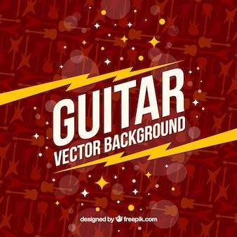 Platte achtergrond met gitaar silhouetten