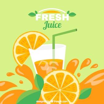 Platte achtergrond van heerlijk sinaasappelsap