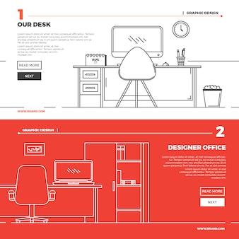 Platte creatieve werkruimte illustratie