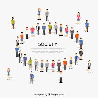 Platte samenleving die een cirkel vormt