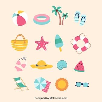 Platte selectie van gekleurde zomerobjecten