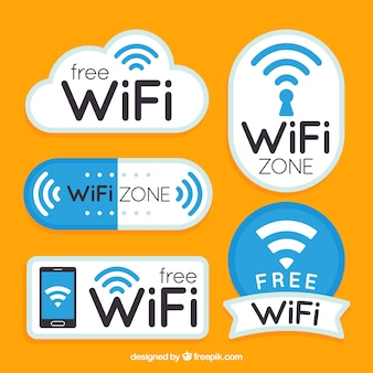 Platte verzameling fantastische wifi stickers
