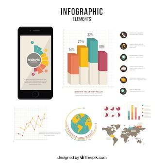 Platte verzameling van nuttige infografische elementen