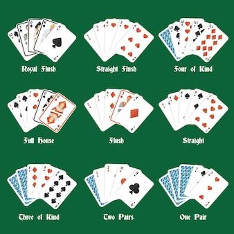 Poker handen instellen met royale flush vier van soort volledige huis geïsoleerde vector illustratie