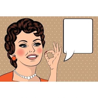 Pop art leuke retro vrouw in stripverhalen stijl met OK teken vector illustratie