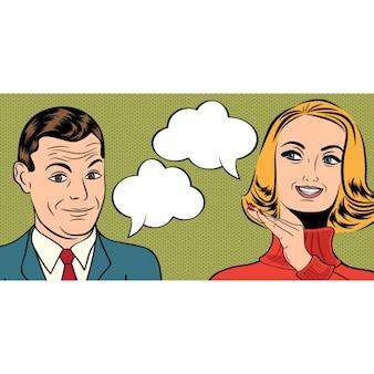 Pop art retro schattige paar in strips stijl met boodschap