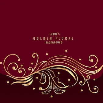 Prachtige gouden floral design in rode achtergrond