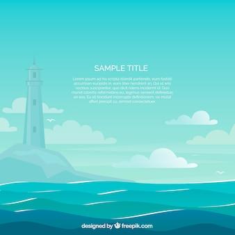 Prachtige zee scène met vuurtoren achtergrond