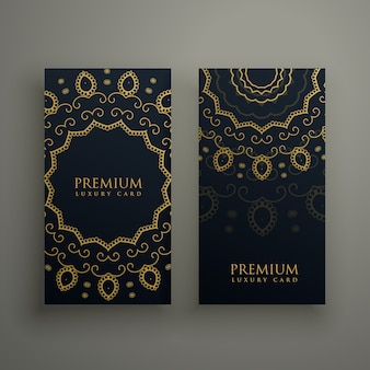 Premium mandala decoratie banners of kaart ontwerp vector