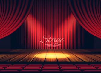 Premium rode gordijnen stage theater of opera achtergrond met spotlight