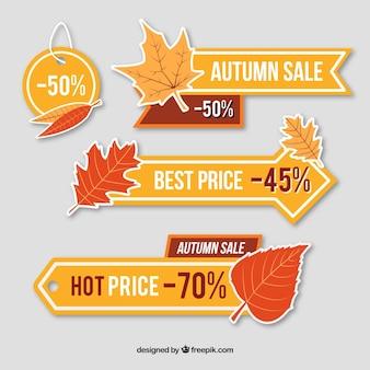Prijs banners voor de herfst