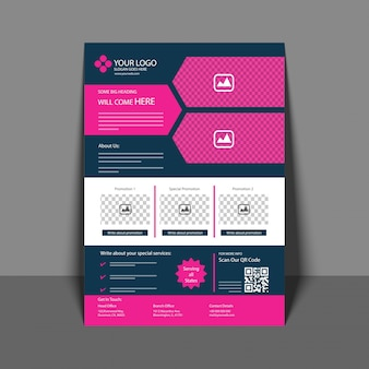 Professionele Flyer in Pink and Blue Color, Corporate Brochure, Jaarverslag en Cover Design sjabloon voor uw bedrijf.
