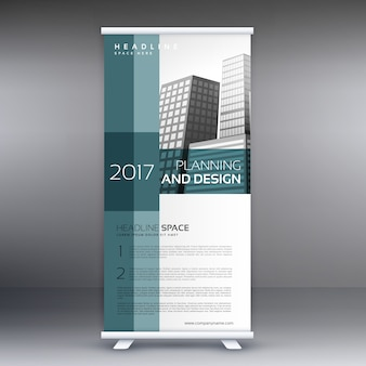 Professionele roll up standee banner vector design sjabloon
