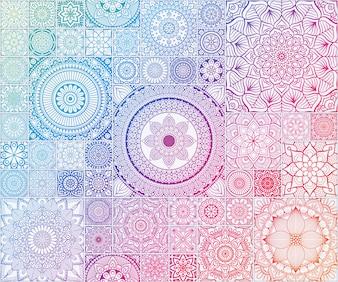 Rainbow Etnisch bloemen naadloos patroon met mandala